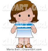 Clip Art of a Cute Brunette Greek Girl Wearing a Flag of Greece Shirt by Maria Bell