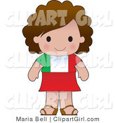 Clip Art of a Cute Brunette Italian Girl Wearing a Flag of Italy Shirt by Maria Bell