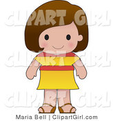 Clip Art of a Cute Brunette Spanish Girl Wearing a Flag of Spain Shirt by Maria Bell