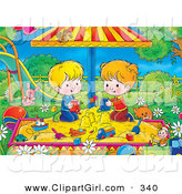Clip Art of a Cute Cat near a Boy and Girl Playing in a Sandbox in a Park by Alex Bannykh
