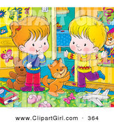 Clip Art of a Cute Cat Playing with a Happy Boy and Girl in a Messy Bedroom by Alex Bannykh