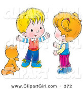 Clip Art of a Cute Cat Seated by a Little Boy Talking to a Girl by Alex Bannykh