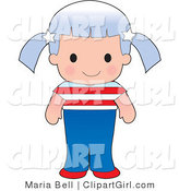 Clip Art of a Cute Caucasian American Girl Wearing a Flag of the United States Shirt by Maria Bell
