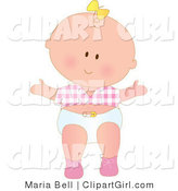 Clip Art of a Cute Caucasian Baby Girl with a Yellow Bow in Her Hair, Wearing a Pink Checkered Shirt and White Diaper While Taking Her First Steps by Maria Bell