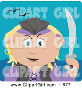 Clip Art of a Cute Caucasian Pirate Woman Holding a Sword by Dennis Holmes Designs