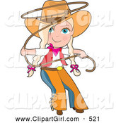 Clip Art of a Cute Cute Cowgirl in Chaps and a Hat, Swirling a Lasso, Her Blond Hair in Braids by Maria Bell