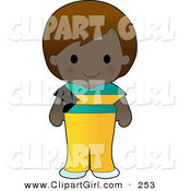 Clip Art of a Cute Dark Skinned Bahamian Girl Wearing a Flag of Bahamas Shirt by Maria Bell