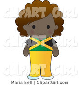 Clip Art of a Cute Ethnic Jamaican Girl Wearing a Flag of Jamaica Shirt by Maria Bell