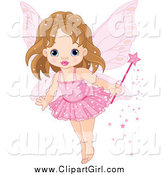 Clip Art of a Cute Fairy Princess Toddler Girl in a Pink Tutu by Pushkin