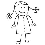 Clip Art of a Cute Figure Stick Girl in a Dress, Her Hair in Pig Tails by C Charley-Franzwa
