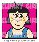 Clip Art of a Cute Girl with Black Hair and Brown Freckles by Andy Nortnik