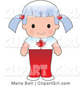 Clip Art of a Cute Gray Haired Canadian Girl Wearing a Flag of Canada Shirt by Maria Bell