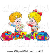 Clip Art of a Cute Happy Boy and Girl Holding Flowers, Standing with Presents and Bags by Alex Bannykh