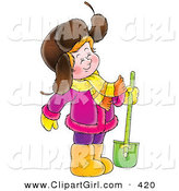 Clip Art of a Cute Happy Girl in a Purple Coat, Standing with a Shovel by Alex Bannykh