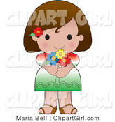Clip Art of a Cute Hispanic Girl Wearing a Flag of Mexico Shirt by Maria Bell