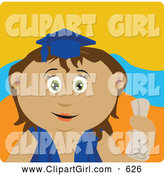 Clip Art of a Cute Hispanic Graduating Girl Holding a Diploma by Dennis Holmes Designs
