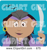 Clip Art of a Cute Hispanic Pirate Woman Holding a Sword by Dennis Holmes Designs