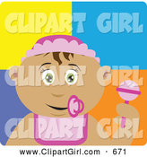 Clip Art of a Cute Latin American Baby Girl with a Pacifier, Bib and Rattle by Dennis Holmes Designs