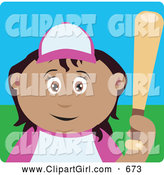 Clip Art of a Cute Latin American Girl Batting During a Baseball Game by Dennis Holmes Designs