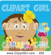 Clip Art of a Cute Latin American Woman in a Hawaiian Lei, Drinking a Cocktail on Vacation by Dennis Holmes Designs