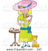 Clip Art of a Cute Little Blond Caucasian Girl Dressed in Her Mother's Clothing and Pouring a Cup of Tea into a Cup While a Marmalade Cat Looks up at Her, Waiting for a Treat by Maria Bell