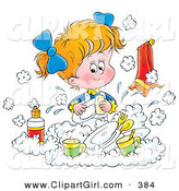 Clip Art of a Cute Little Blond Girl Happily Washing Dishes in a Soapy Kitchen Sink by Alex Bannykh