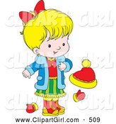 Clip Art of a Cute Little Blond Girl Wearing a Blue Jacket, Red Shirt, and Green Skirt, Standing by Mittens and a Ha by Alex Bannykh