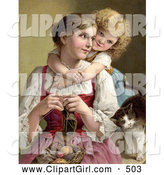 Clip Art of a Cute Little Blond Victorian Girl Hugging Her Mom from Behind As She Knits, a Cat Rubbing Against Her Arm by OldPixels