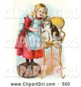 Clip Art of a Cute Little Blond Victorian Girl Trying to Train Her Cat to Listen to Her Commands, Teaching Kitty to Sit on a Stool by OldPixels