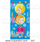 Clip Art of a Cute Little Boy and Girl Above a Gift, Snowflakes and Baubles, Bordered by Colorful Circles and Squares on Blue by Alex Bannykh