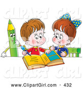 Clip Art of a Cute Little Boy and Girl Studying Together, a Green Colored Pencil Watching on White by Alex Bannykh