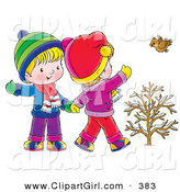 Clip Art of a Cute Little Boy and Girl Walking, Holding Hands and Waving to a Bird on a Winter Day by Alex Bannykh