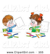 Clip Art of a Cute Little Boy and His Sister Proudly Holding up Their Artwork While Coloring at a Table by Alex Bannykh