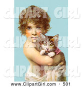 Clip Art of a Cute Little Curly Haired Victorian Child Holding a Kitten in Their Arms, over a Blue Background by OldPixels