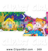 Clip Art of a Cute Little Girl Cuddling in Bed with Her Teddy Bear a Doll, Dreaming of a Cute Little Cabin by Alex Bannykh
