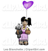 Clip Art of a Cute Little Girl Holding a Purple Heart Balloon and Teddy Bear by Leo Blanchette