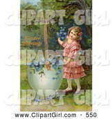 Clip Art of a Cute Little Victorian Girl Filling a Giant Broken Easter Egg with Forget Me Not Flowers by OldPixels