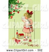 Clip Art of a Cute Little Victorian Girl Hugging Her White Cat and Standing by Toys near a Christmas Tree, on a Green Background with Greeting Text by OldPixels