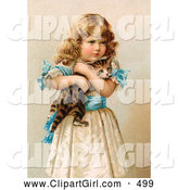 Clip Art of a Cute Little Victorian Girl in a Fluffy Dress, Hugging Her Scared Kitten by OldPixels