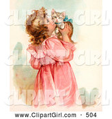 Clip Art of a Cute Little Victorian Girl in a Pink Dress, Holding up and Kissing Her Cute Kitten on the Cheek by OldPixels