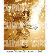 Clip Art of a Cute, Long Haired Anime Girl in a Dress, Holding a Magical Book Open While Floral Particles and Light Spin Around Her by Tonis Pan
