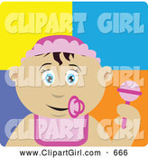 Clip Art of a Cute Mexican Baby Girl with a Pacifier, Bib and Rattle by Dennis Holmes Designs