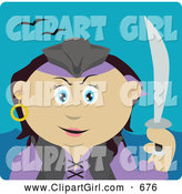 Clip Art of a Cute Mexican Pirate Woman Holding a Sword by Dennis Holmes Designs