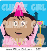 Clip Art of a Cute Pretty Hispanic Princess Girl Holding a Wand by Dennis Holmes Designs