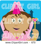 Clip Art of a Cute Pretty Latin American Princess Girl Holding a Wand by Dennis Holmes Designs