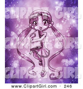 Clip Art of a Cute Purple Anime Girl with Her Long Hair in Pig Tails, Carrying a Book and Surrounded by Glowing Flowers and Magic Dust by Tonis Pan
