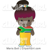 Clip Art of a Cute Purple Haired African Girl Wearing a Flag of South Africa Shirt by Maria Bell