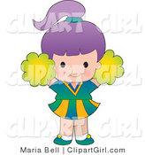 Clip Art of a Cute Purple Haired White Cheerleader Girl Jumping with Green Pompoms by Maria Bell