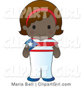 Clip Art of a Cute Smiling Puerto Rican Girl Wearing a Flag of Puerto Rico Shirt by Maria Bell