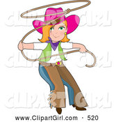 Clip Art of a Cute Teenage Cowgirl in Chaps and a Pink Hat, Swinging a Lasso by Maria Bell